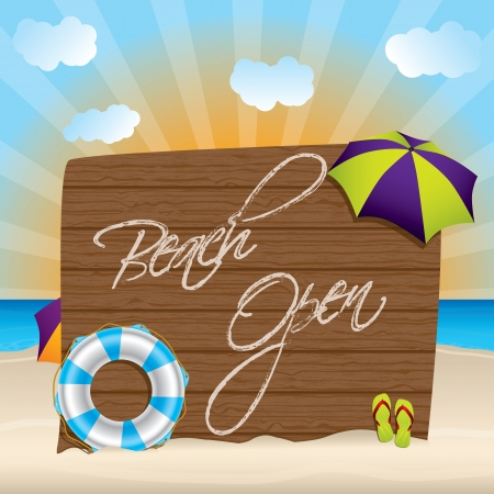 Summer background with huge beach open sign Stock Vector - 19983253