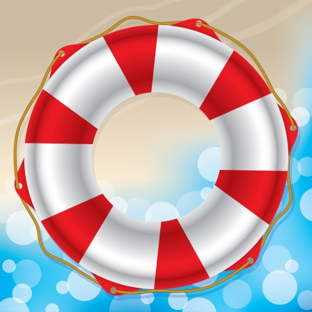 float fun: Swimming ring where sandy beach meets water