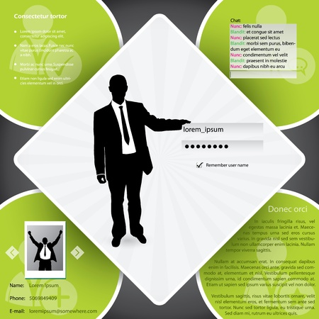 browse: Website template design with business man and login screen