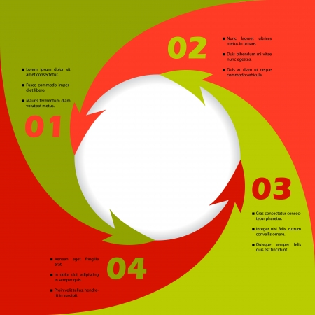 Circling arrows inforgraphic design with white circle in the middle Stock Vector - 20058477