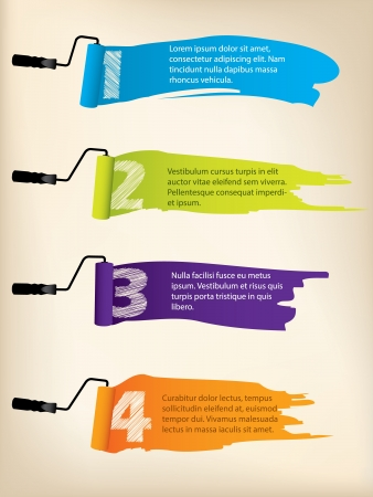 Infographic background design with paint rollers and paint splatter Illustration