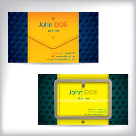 waistband: Color waistband design business card with data Illustration