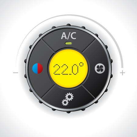 Air condition gauge with bright yellow led Vector