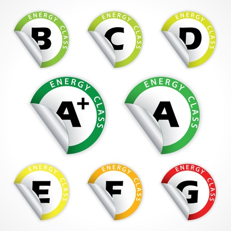consuming: Energy class sticker set from A  to G