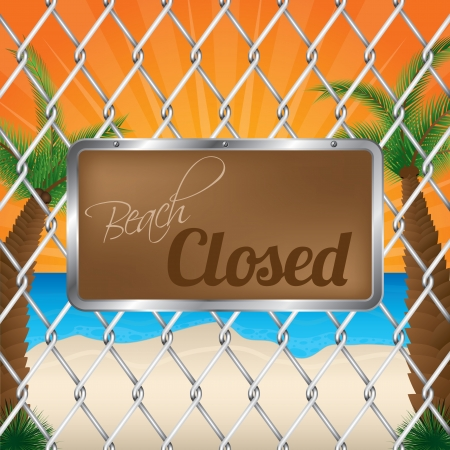 beach closed: Beach closed sign on wired fence with sunset in background Illustration