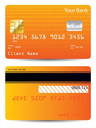 Textured credit card design with orange halftone  Vector