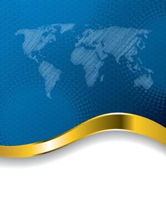 modrý: Modrá obchodní brožura design s mapou světa a zlaté vlny Ilustrace