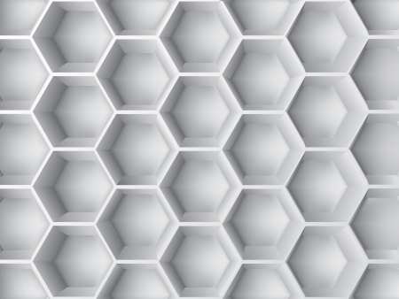 Abstract decoration with 3d  hexagon shapes in gray color Vector