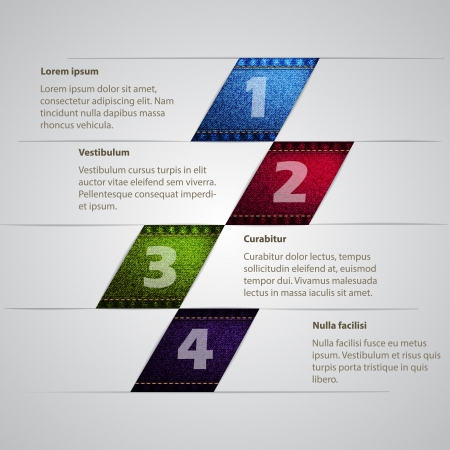 jeans texture: Infographic design with jeans texture in different colors Illustration
