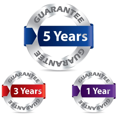 Guarantee seal designs with metal and ribbon Vector