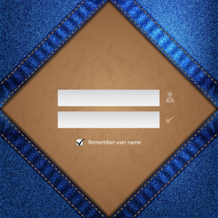 Blue jeans with grunge label login screen for websites Vector