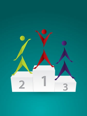 highest: Origami people standing on white podium with numbers