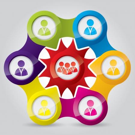 Ilustración de la red de conexiones sociales de las personas y equipos Ilustración de vector