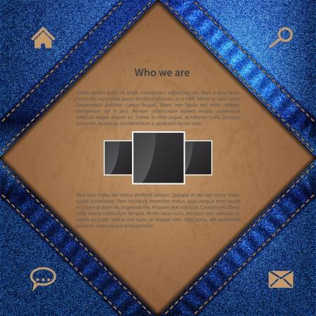 sewed: Sewed jeans website template design with grunge label background Illustration