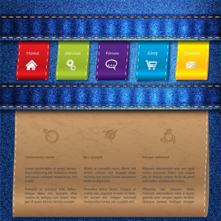 Website template design with blue jeans and color tags Vector