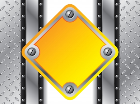 Metallic plate with yellow shape for text Stock Vector - 20494531