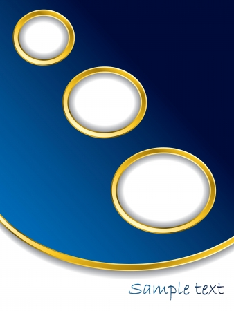 Dark blue background with gold rings and white space Vector