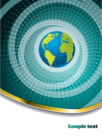 Halftone globe brochure design with gold wave Vector