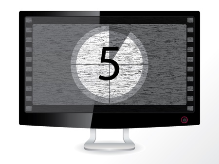 film title: Black and white countdown in an lcd monitor Illustration
