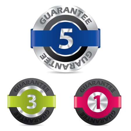 1 year warranty: Metallic guarantee badges with different terms shown by numbers Illustration
