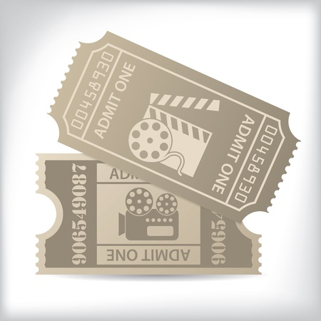 Old cinema tickets with icons and text Vector