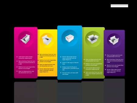 Infographic style product presentation on black background and color tags Vector