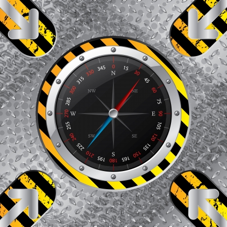 Industrial compass design with grunge stripes and metallic plate Vector