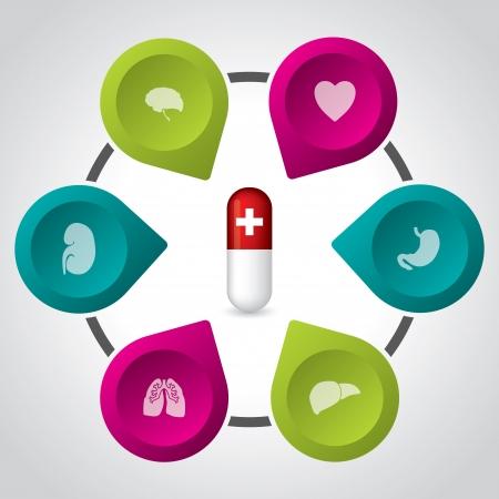 red pill: Revolutionary red pill for different organ diseases Illustration