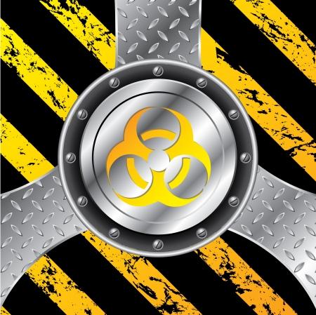 biological waste: Industrial background design with bio hazard warning sign  Illustration