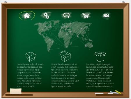 Website design template drawn on chalkboard with scribbled map Stock Vector - 20745212