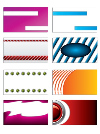 Set of 8 business cards with various designs Vector