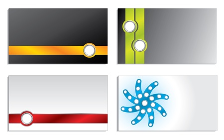 Business card set of four with abstract designs Vector