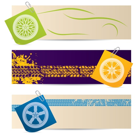 Tire labels with wheel silhouette post its Vector