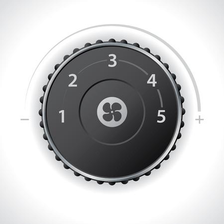 recirculate: Air ventilation speed setting gauge for dashboard Illustration
