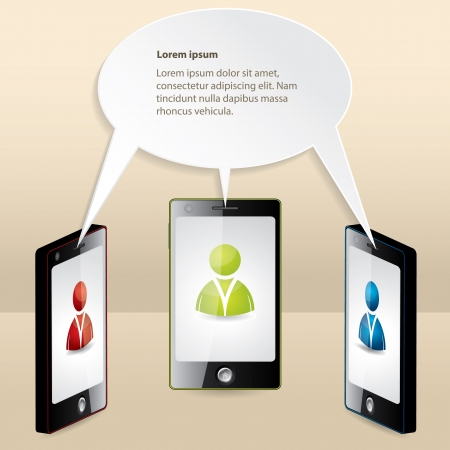 Smartphone conference illustrated with speech bubble and sample text Vector