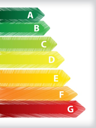 Energy efficiency rating with scribbled label design Stock Vector - 20986716