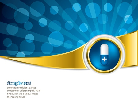 hospital background: Pill advertisement with bursting blue background and white space