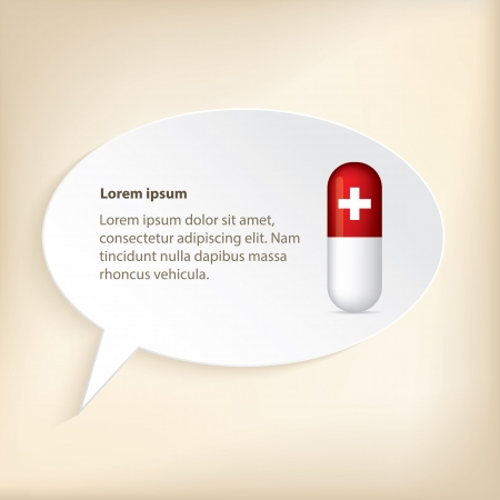 red pill: Medical wallpaper or background design with red pill and speech bubble