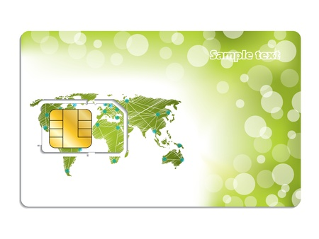 gsm: Sim card design with world map connections and dotted green background