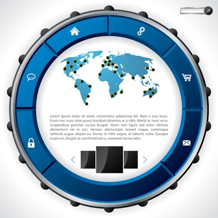Cool technology website template design with blue ring like button set Stock Vector - 20986723