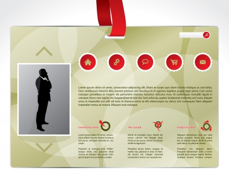 lanyard: Business identity website template design with red lanyard  Illustration