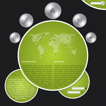 site map: Cool website template with metallic buttons and world map Illustration