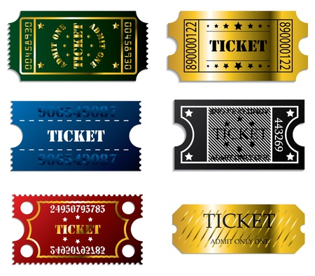 Various ticket set of 6 in cool colors Vector