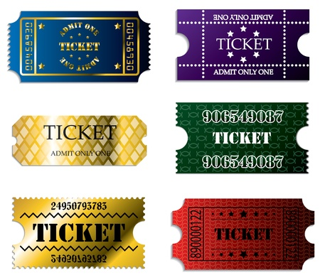Various ticket set of six with cool designs Vector