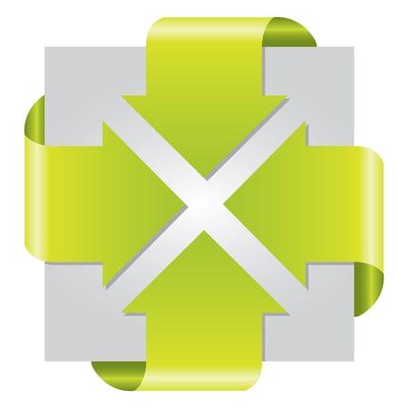 corner tab: Green colored arrow presentation brochure on white