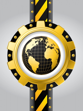 Technology background design with globe inside cogwheel  Vector