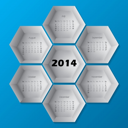 2014 blue hexagon calendar design with months from July to december Vector
