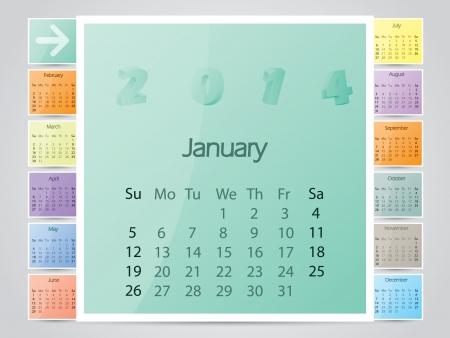 calendar design: Simple frame like color calendar design for 2014 Illustration