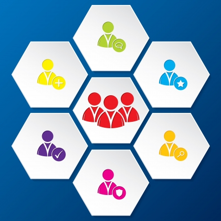 medium group of people: Social network icon set in abstract hexagon shapes