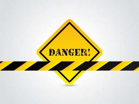 Danger sign with striped bar and hexagon textured background Stock Vector - 21465908